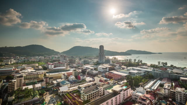 thailand summer day patong beach city roof top panorama 4k time lapse video