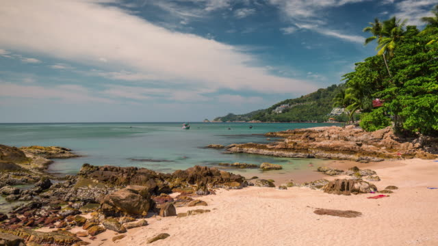 thailand summer day phuket famous small beach panorama 4k time lapse video
