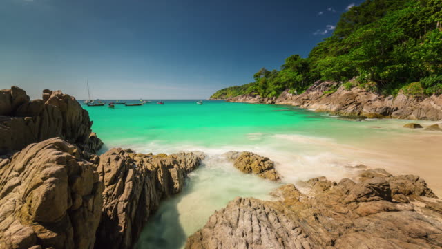 thailand summer day phuket island famous beach panorama 4k time lapse video