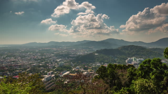 thailand summer day phuket town monkey hill panorama 4k time lapse video