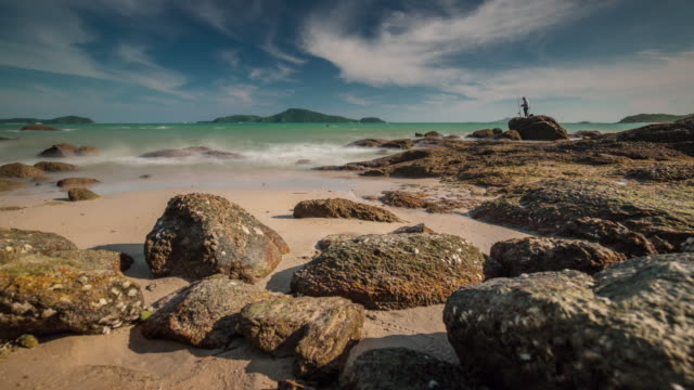 thailand summer day rocky beach tourist port panorama 4k time lapse video