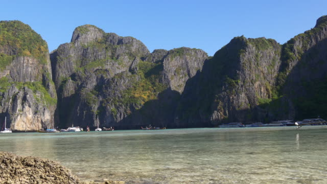 thailand summer day time famous tourist koh phi phi beach islands panorama 4k video
