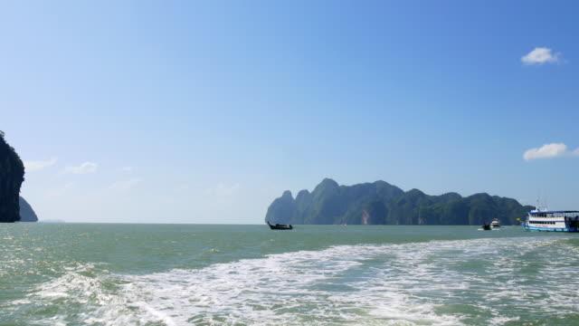 thailand summer light islands boat ride backside panorama 4k video