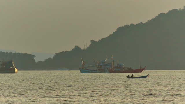 thailand summer sunrise working fisher boats ride panorama hd phuket video