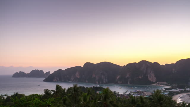 thailand summer sunset famous koh phi phi don island view point panorama 4k time lapse video