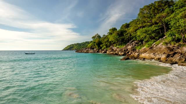 thailand summer sunset freedom beach rocky hill panorama hd phuket video