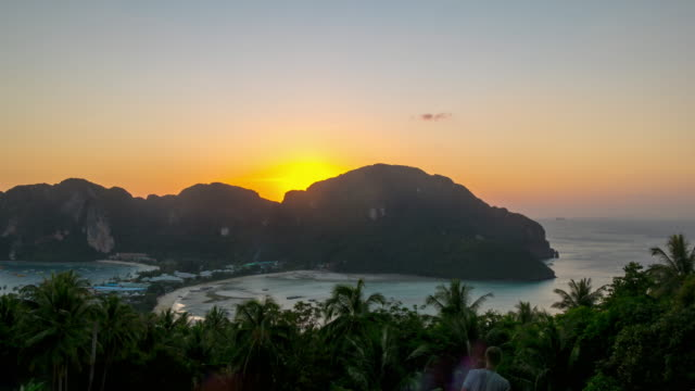 thailand summer sunset koh phi phi island viewpoint panorama 4k time lapse video