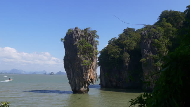thailand summer time famous tourist james bond island district panorama 4k video
