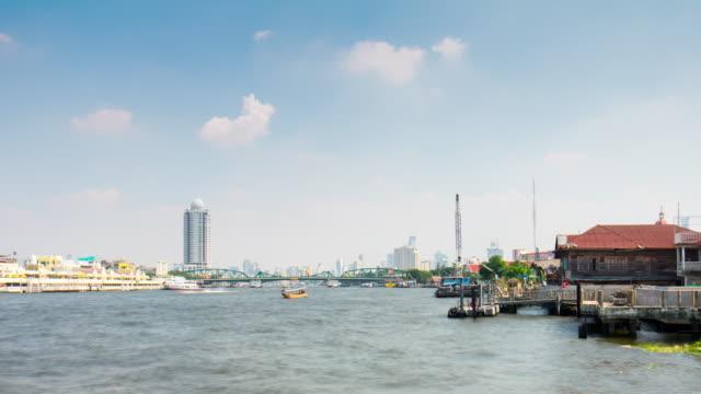 thailand sun light day bangkok chao phraya river bay city panorama 4k time lapse video
