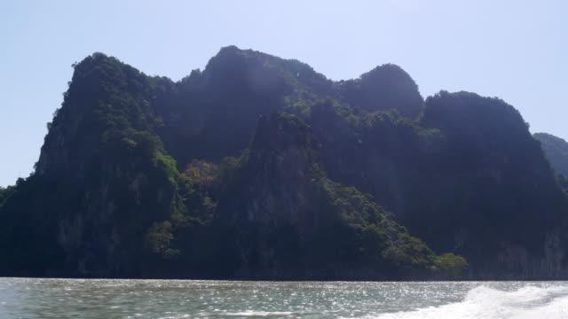 thailand sun light speed boat riding islands panorama 4k video