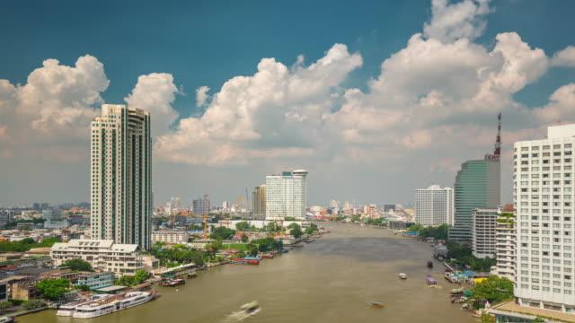 thailand sunny cloudy sky main bangkok river traffic panorama 4k time lapse video