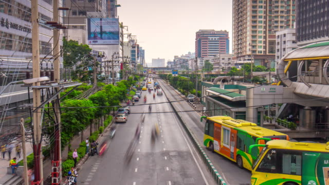 thailand sunny day bangkok city center traffic crossroad panorama 4k time lapse video