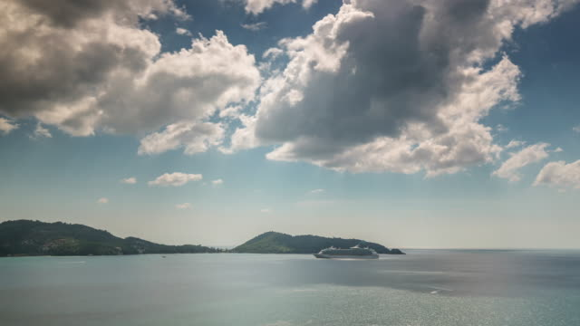 thailand sunny day patong beach cruise liner panorama 4k time lapse video