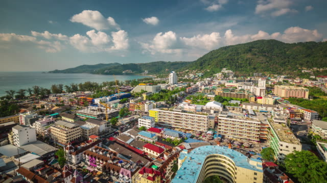 thailand sunny day patong beach town roof top panorama 4k time lapse video