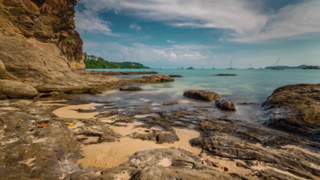 thailand sunny day phuket island nontourist beach panorama 4k time lapse video