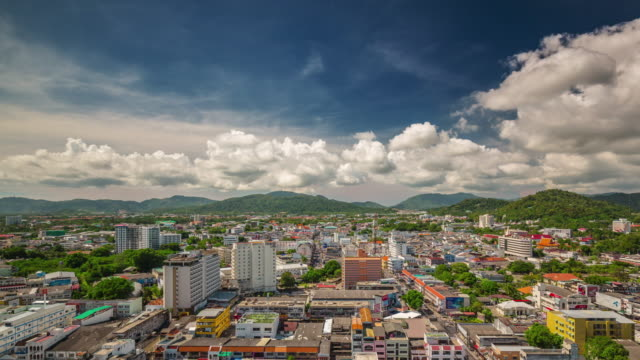 thailand sunny day phuket island patong city roof top panorama 4k time lapse video