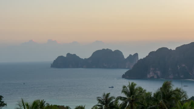 thailand sunset famous ko phi phi don view point island panorama 4k time lapse video