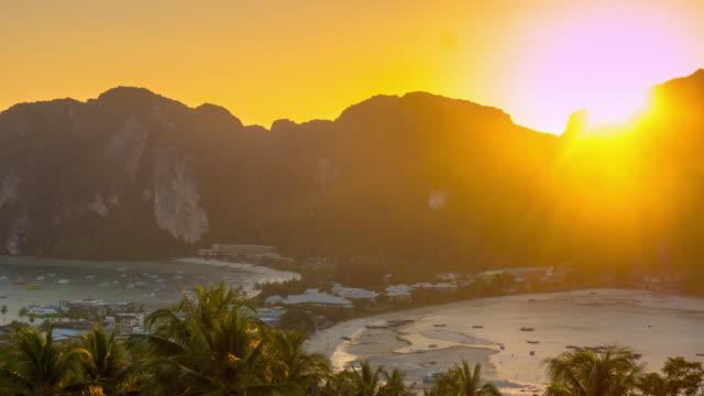 thailand sunset ko phi phi island famous viewpoint panorama 4k time lapse video