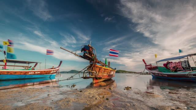 thailand sunset light phuket island low tide parking boats 4k time lapse video