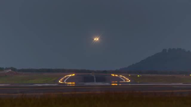 thailand twilight phuket island airport jet plain landing 4k time lapse video