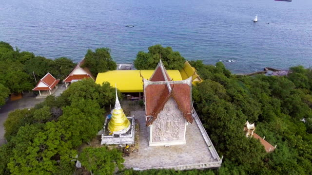 Thai-Style Temple on Hill at Seaside in Beautiful Day. video