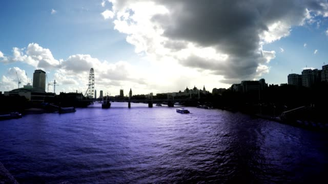 Thames River, Big Ben and London Eye, Time Lapse, London, Loop video