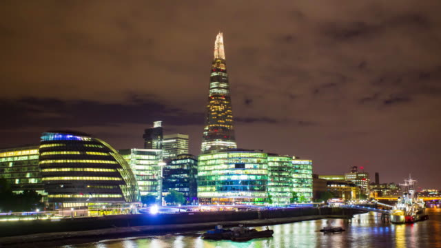 Thames River Embankment  at night video