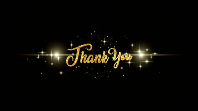 Thank You Beautiful golden greeting Text Appearance from blinking particles with golden fireworks background. video