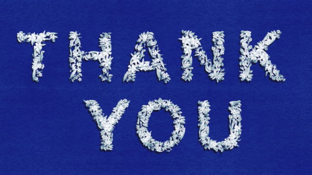 Thank You - Blue Animated Growing Words - Two Versions and Luma Matte Alpha Channel Suits any occasion but especially when you're clapping for key workers or clap for carers and medical staff. A big thank you for the doctors and nurses.  Made from hundreds of hand drawn flowers and leaves. Blue on white and white on blue. Can be placed on any backdrop or background at any scale using the alpha channel (place black and white version over main animation and choose 'luma matte').  Rainbow alternative and version in window also available. thank you stock videos & royalty-free footage