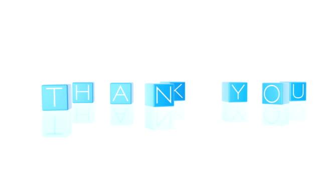 vídeos de stock, filmes e b-roll de obrigado caixas caindo contra branco, alpha - agradecimento