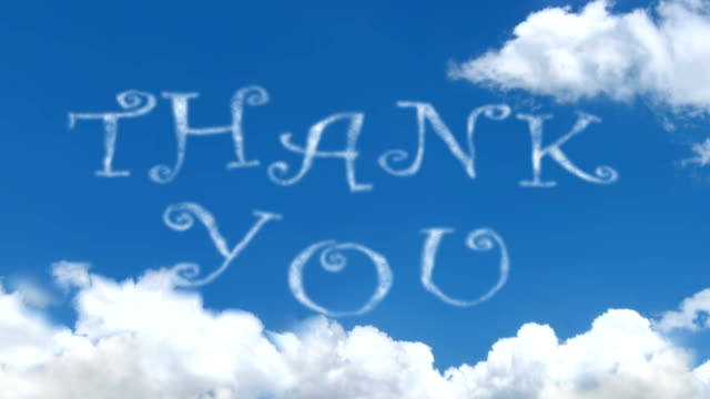 Thank You - cloud words on blue sky video