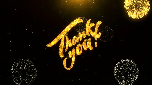 Thank You Greeting Card text Reveal from Golden Firework & Crackers on Glitter Shiny Magic Particles Sparks Night for Celebration, Wishes, Events, Message, holiday, festival