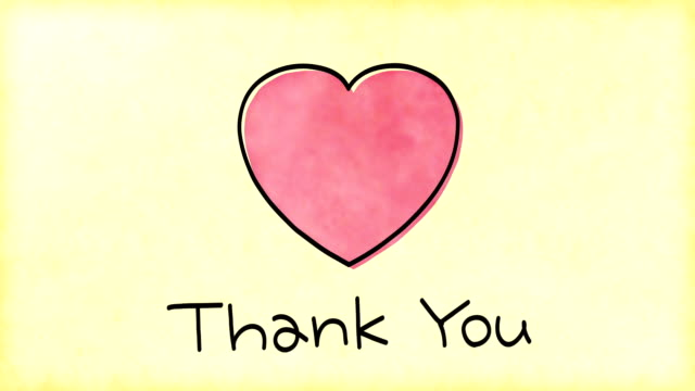 thank you message with heart - thank you stock videos and b-roll footage