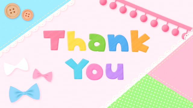 thank you message with sewing motif - kawaii video stock e b–roll