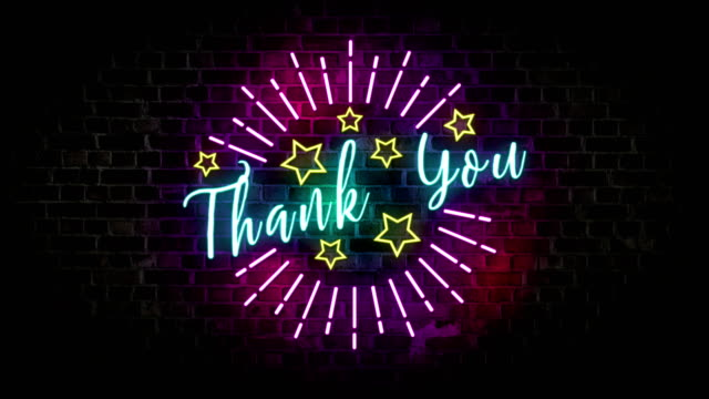 thank you neon sign isolated light glowing on brick wall background. motion 4k footage for invitation, celebration, events, message, holiday and festival.