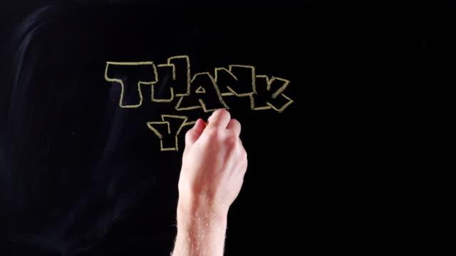 vídeos de stock, filmes e b-roll de obrigado no quadro-negro - agradecimento