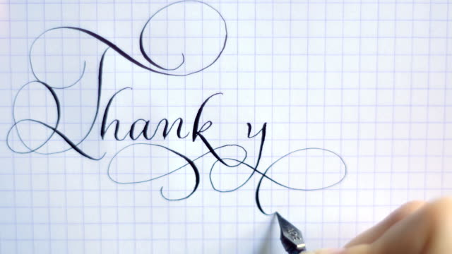 thank you phrase calligraphy and lettering pen vintage font - thank you stock videos and b-roll footage