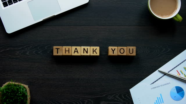 thank you phrase made of cubes, gratitude and courtesy, end of presentation - thank you stock videos & royalty-free footage