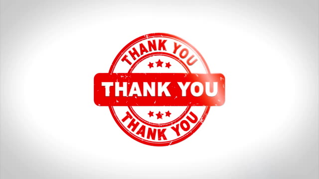 Thank You Signed Stamping Text Wooden Stamp Animation.