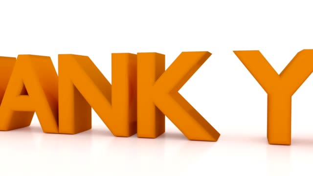 3D Thank You text animation, camera fly around text placed on white background with reflection. Concept of thanks letter or banner, usable for greeting card