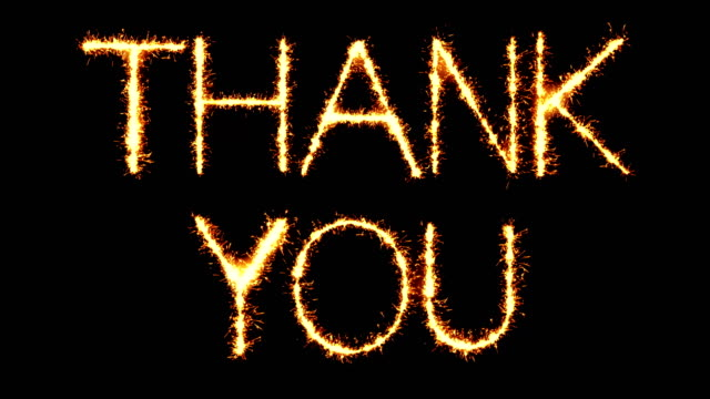 thank you text sparkler glitter sparks firework loop animation - thank you background filmów i materiałów b-roll