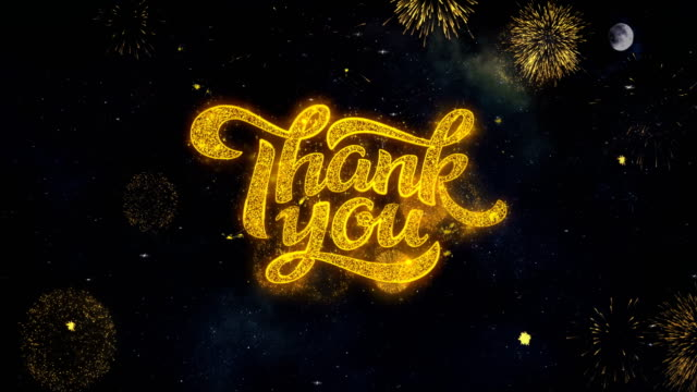 Thank You Text Wishes Reveal From Firework Particles Greeting card.