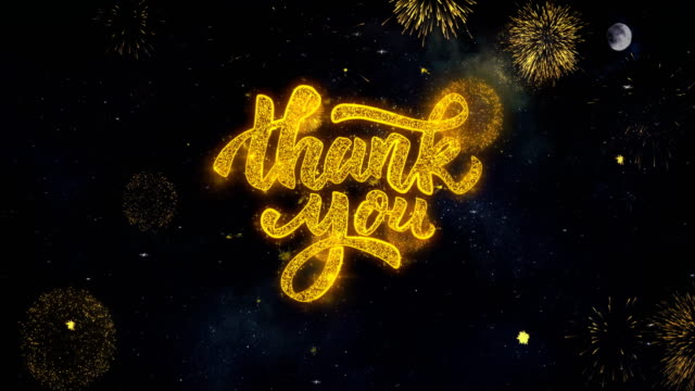 Thank You Text Wishes Reveal From Firework Particles Greeting card. Thank You Text Typography Reveal From Golden Firework Crackers Particles Night Sky 4k Background. Greeting card, Celebration, Party, Invitation, Gift, Event, Message, Holiday, Wish Festival thank you stock videos & royalty-free footage