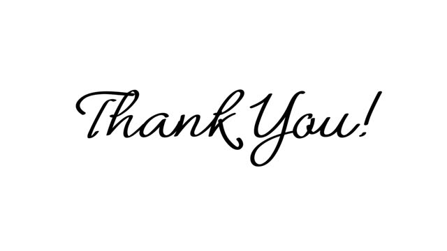 Thank you, text writing. handwritten style animation template