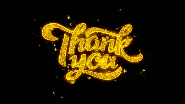 thank you typography written with golden particles sparks fireworks 2 - thank you background filmów i materiałów b-roll