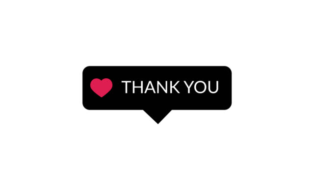 Thank you word on black popup with red love symbol animation motion graphic video