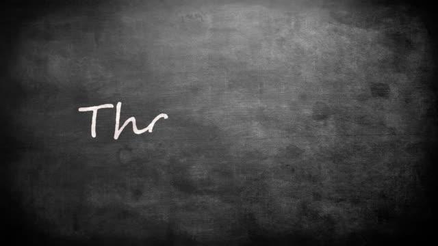 Thank you written on a blackboard video