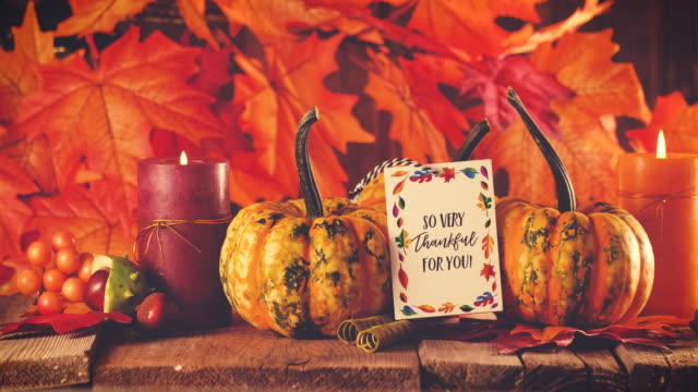 Thanksgiving decoration with pumpkins and greeting card on illuminated background and a rustic wooden table