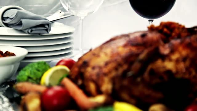 感謝祭ディナー - テーブル 無人のビデオ点の映像素材/bロール