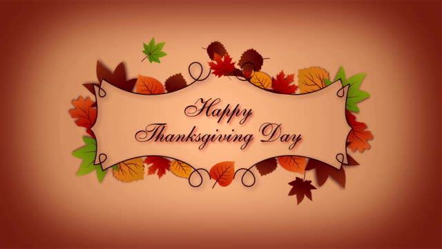Thanksgiving greeting card with autumn leaves video